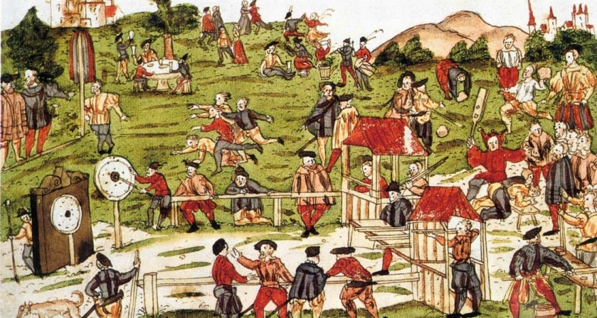 Painting of revellers and archers at a an archery festival, 1527
